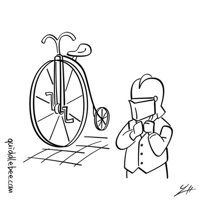 Safety First comics  knight bicycle  cartoon