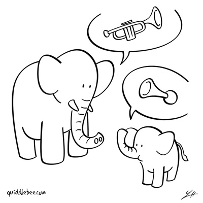 Brass Ensemble comics  music elephant  cartoon