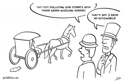 Going Green comics  pollution horse car call of nature  cartoon