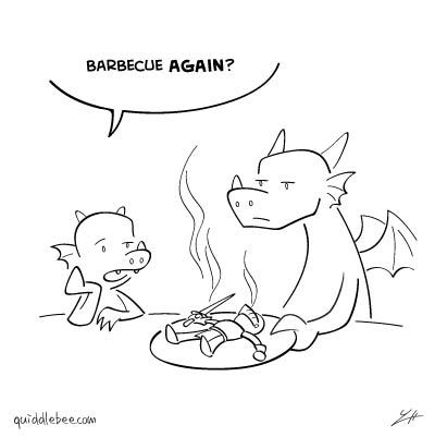 Too Much of a Good Thing comics  knight dragon bbq  cartoon