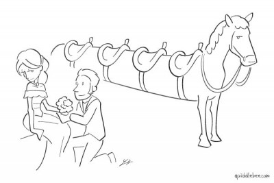 Off to the Prom comics  love horse car  cartoon