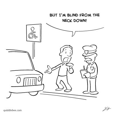 Disabled Parking comics  police crime car  cartoon