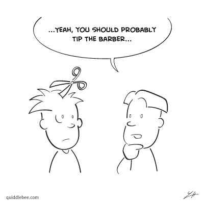 Bad Hair Day comics  scissors money hair  cartoon