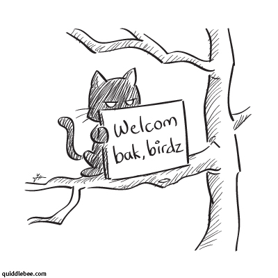 Welcome Party comics  party cat bird  cartoon
