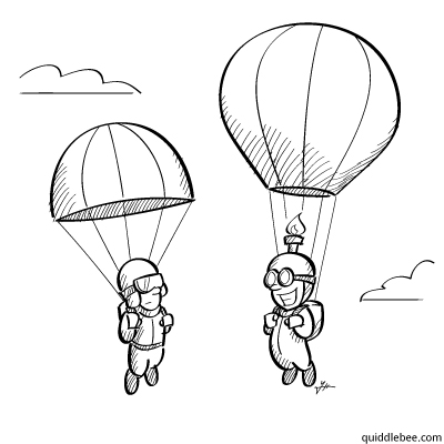 Going Up comics  parachute flying balloon  cartoon