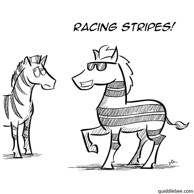 Zoom Zoom comics  zebra race  cartoon