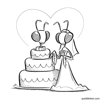 Mantis and Wife comics  wedding mantis love cake  cartoon