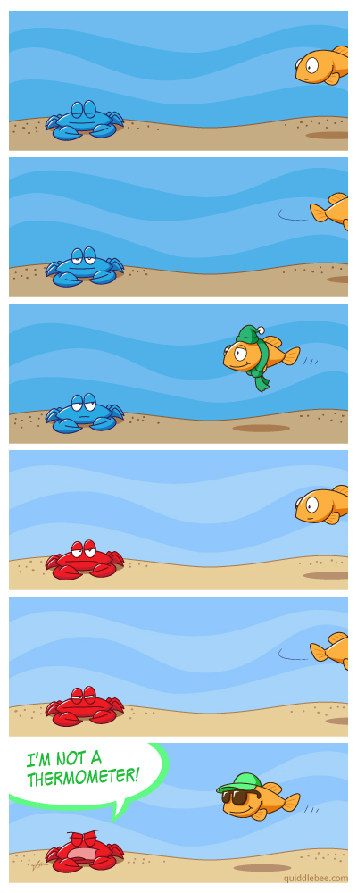 A Shell for All Seasons comics  fish crab clothing  cartoon
