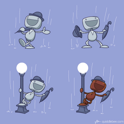 Vocal Music Performance in the Midst of Precipitation comics  robot rain music movie  cartoon
