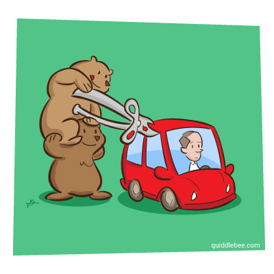 Car Opener comics  car can bear  cartoon