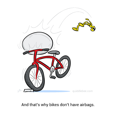 Cycle Safety comics  crash test dummy car bicycle  cartoon