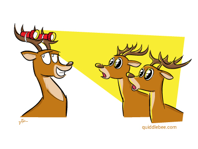 Lord of the Deer comics  flashlight deer car  cartoon
